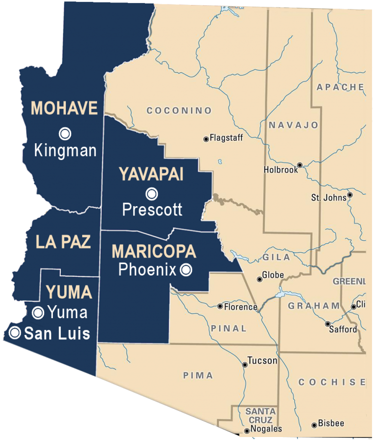 Map of Arizona showing CLS service areas in Maricopa, Mohave, La Paz, Yavapai, and Yuma counties